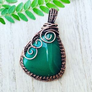 Jade copper wire wrapped pendant necklace